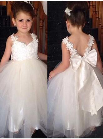 Fashion V-neck Ball Gown Flower Girl Dresses Ankle-length Tulle/Lace Sleeveless