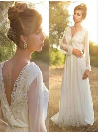 2018 New V-neck A-Line/Princess Wedding Dresses Sweep Train Chiffon Long Sleeves