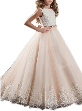 Ball Gown Sweep Train With Sash/Appliques/Bow(s) Tulle Sleeveless Flower Girl Dresses