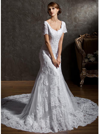 Trumpet/Mermaid Sweetheart Cathedral Train Wedding Dresses With Beading