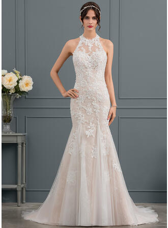 Trumpet/Mermaid Halter Court Train Tulle Lace Wedding Dress With Beading Sequins