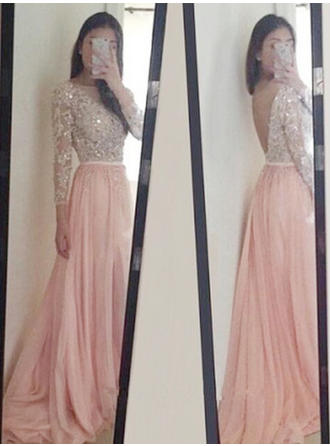 A-Line/Princess Scoop Neck Sweep Train Prom Dresses With Appliques Lace Sequins