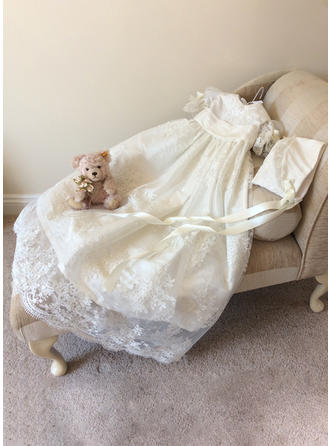 A-Line/Princess Scoop Neck Floor-length Lace Christening Gowns With Bow(s)
