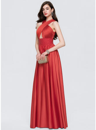 A-Line/Princess Scoop Neck Floor-Length Satin Prom Dresses With Beading