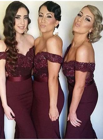 Trumpet/Mermaid Satin Lace Bridesmaid Dresses Beading Off-the-Shoulder Sleeveless Sweep Train