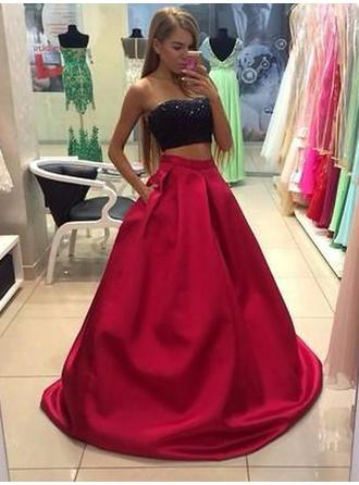 A-Line/Princess Satin Prom Dresses Strapless Sleeveless Floor-Length
