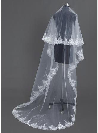 Chapel Bridal Veils Tulle One-tier Oval With Lace Applique Edge Wedding Veils