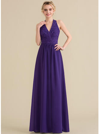 A-Line/Princess Halter Floor-Length Chiffon Lace Bridesmaid Dress With Bow(s)