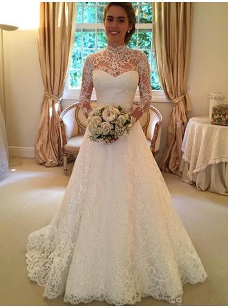 Ball-Gown Lace Long Sleeves High Neck Sweep Train Wedding Dresses