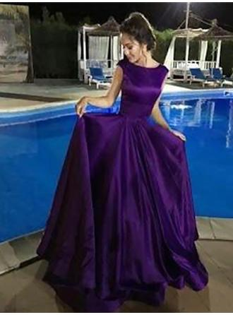 A-Line/Princess Scoop Neck Floor-Length Prom Dresses With Ruffle