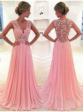 A-Line/Princess V-neck Sweep Train Evening Dresses With Lace