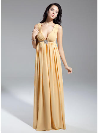 Empire Chiffon Sleeveless V-neck Floor-Length Zipper Up Mother of the Bride Dresses