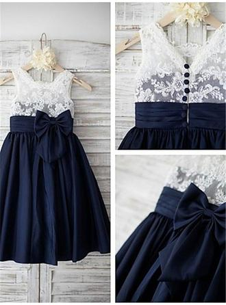 A-Line/Princess Straps Tea-length With Bow(s) Chiffon/Lace Flower Girl Dresses