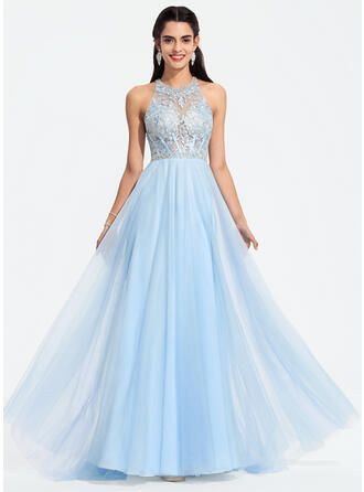 A-Line Scoop Neck Sweep Train Tulle Prom Dresses With Beading Sequins