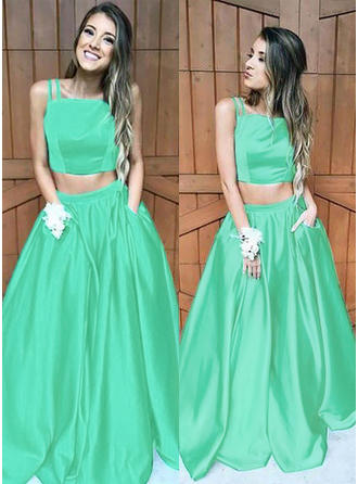 A-Line/Princess Square Neckline Sweep Train Prom Dresses With Ruffle