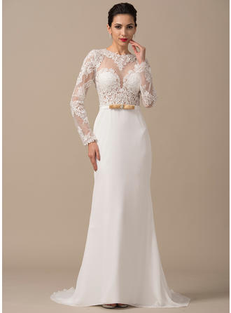 Scoop Sheath/Column Wedding Dresses Chiffon Beading Appliques Lace Bow(s) Long Sleeves Court Train