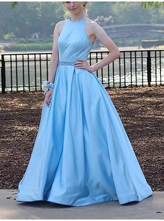 A-Line/Princess Halter Sweep Train Prom Dresses With Beading