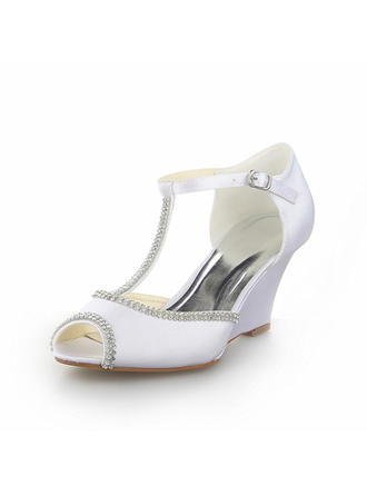 Women's Peep Toe Sandals Wedges Wedge Heel Satin With Rhinestone Wedding Shoes