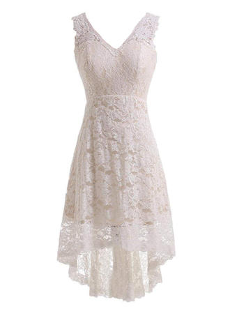 A-Line/Princess Lace Sleeveless V-neck Knee-Length Asymmetrical Wedding Dresses