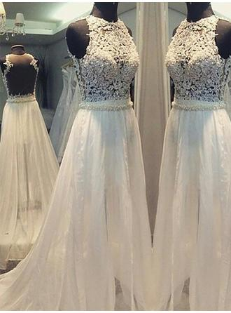 Flattering Scoop A-Line/Princess Wedding Dresses Sweep Train Chiffon Sleeveless